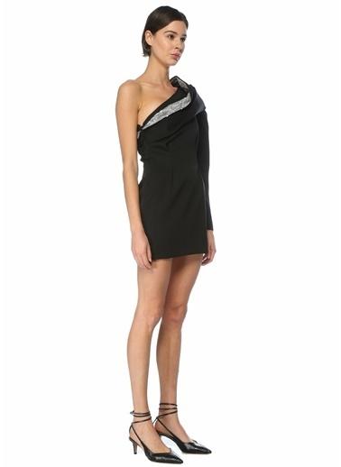 Etoile Isabel Marant Isabel Marant  İşlemeli Tek Kol Mini Yün Kokteyl Elbise 101598868 Siyah